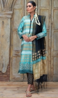 Sea blue stripes and dots block printed shirt with block printed dupatta.