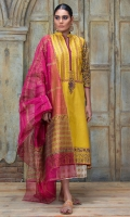 Dhani yellow floral motif block printed shirt with magenta block printed dupatta.