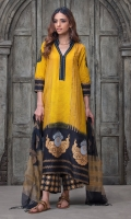 MUSTARD AND BLACK DIP DYE JAPANESE MOTIF BLOCK PRINTED CORNER DROP SHIRT WITH LACE DETAILS ON THE NECK. PAIRED WITH BLACK AND GOLD BLOCK PRINTED DUPATTA.