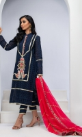 MID-NIGHT BLUE CUT-WORK COTTON CHIKAN TUNIC WITH RESHAM EMBROIDERY, GOLD LEATHER APPLIQUE AND HEAVY GOTA KINGRI DETAILS.