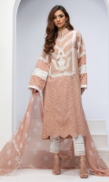 BLUSH NUDE CUT-WORK COTTON CHIKAN TUNIC WITH RESHAM, LACE AND 3D RIBBON FLOWERS EMBROIDERY
