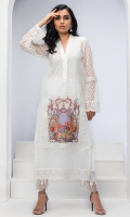 WHITE EMBROIDERED LACE NET TUNIC WITH DIGITAL PRINTED APPLIQUE MOTIF. EMBELISHED WITH LACE AND PEARL DETAILING.