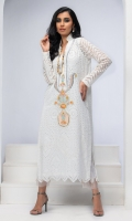 WHITE COTTON CHIKAN TUNIC. HAND EMBBROIDERED WITH RESHAM WORK, GOLD LEATHER APPLIQUE AND SILVER GOTA KINGRI DETAILS.