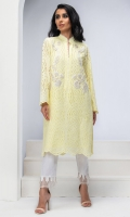 LEMON YELLOW COTTON CHIKAN TUNIC. EMBROIDERED WITH RESHAM WORK & LACE DETAILS.