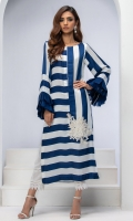 DIGITAL PRINTED STRIPE SILK TUNIC WITH EMBROIDERED LACE FLORAL MOTIF AND ORGANZA PLEATED FRILL SLEEVES.