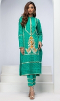 PARAKEET GREEN CUT-WORK COTTON CHIKAN TUNIC WITH RESHAM EMBROIDERY, GOLD LEATHER APPLIQUE AND HEAVY GOTA KINGRI DETAILS.