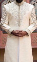 Sherwani for men, designed with heavy embroidery applied on collar ,front and sleeves with flog printing on sleeves above portion