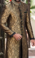 Gold zari atlas jamavar fabric sherwani designed with zardozi work on contrast velvet fabric  applying on collar and buttons.