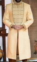 Golden zari jamawar fabric sherwani stitched in hidden button style and designed with traditional hand embroidery and zardozi work applied on collar front and sleeves