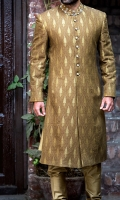 Hand woven self design cotton jamawar fabric sherwani stitched in traditional cut and designed with zardozi work on collar and buttons