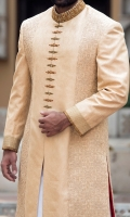 Self jamavar light peach color fabric sherwani designed with Mughal ornaments thread embroidery on front and back panel also highlited african motifs zardozi detail on collar,front and back motif