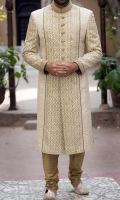 Sherwani for men ,designed with hand embroidery applied collar and sleeves with screen printing applied on front panel and sleeves with piping.