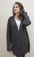 Long front open sweater with pockets on both sides. Metal buttons detailing on sleeves and hem  SIZE