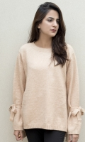 Round neck with bow detailing on sleeves  SIZE