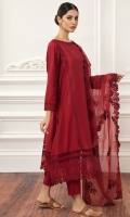 LAWN EMBROIDERED SHIRT ORGANZA LOOM EMBROIDERED DUPATTA COTTON TROUSERS