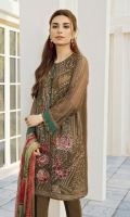 This 3 pc pure crinkle chiffon embroidered shirt feature deep tones, along with digital printed silk dupata including raw silk trousers, linning & accessories.