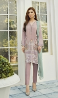 This 3 pc pure crinkle chiffon embroidered shirt feature soft hues, along with contrasting pure crinkle embroidered chiffon dupata including raw silk trousers, linning & accessories.