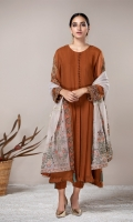 This 3 PC Pure Crinkle Chiffon Shirt, Masoori Embroidered Shawl, Raw Silk Trousers & accessories.