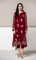 PURE CRINKLE CHIFFON EMBROIDERED SHIRT EMBROIDERED NET SHAWL RAW SILK TROUSERS ( INCLUDING LINING & ACCESSORIE)
