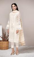 This 3 PC Pure Crinkle Chiffon embroidered Shirt, Jamawar Chiffon Dupatta, Raw Silk Trouser & accessories.