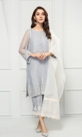 PURE CRINKLE CHIFFON EMBROIDERED SHIRT ORGANZA EMBROIDERED DUPATTA - RAW SILK PANTS LINING & ACESSORIES (INCLUDED)