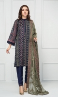 Khadi Net Embroidered Shirt, Crinkle Chiffon Embroidered Dupatta RAW SILK PANTS LINING & ACCESSORIES (INCLUDED)