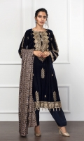 EMBROIDERED VELVET SHIRT EMBROIDERED CRINKLE CHIFFON DUPATTA RAW SILK TROUSERS ACCESSORIES (INCLUDED)