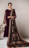 PURE CHIFFON EMBROIDERED SHIRT VELVET EMBROIDERED SHAWL RAW SILK TROUSERS LINING & ACCESSORIES (INCLUDED)