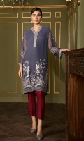 This 2 PC Pure crinkle chiffon embroidered shirt, features mid tones tones along with contrasting raw silk trousers including lining & accessories.