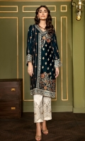 This 2 PC Pure Velvet embroidered shirt, features deep tones along with embroidered raw silk trousers & accessories.