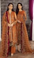 EMBROIDERED NET FRONT 42.5 INCHES EMBROIDERED NET BACK 42.5 INCHES YOKE FRONT AND BACK 50 INCHES SLEEVES 20 INCHES SLEEVES PATCH 38 INCHES EMBROIDERED NET DUPATTA 2.65 YARDS EMBROIDERED PATCH FOR DUPATTA OR NECK 2.75 YARDS RAWSILK TROUSER 2.5 YARDS