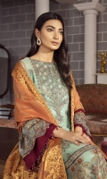 EMBROIDERED CHIFFON FRONT 36 INCHES EMBROIDERED CHIFFON BACK 36 INCHES EMBROIDERED ORGANZA FRONT & BACK PATCH 72 INCHES CHIFFON SLEEVES 20 INCHES JAMAWAR SHAWL 2.5 YARDS RAWSILK TROUSER 2.5 YARDS