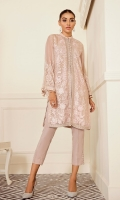 This 2 pc pure crinkle chiffon embroidered shirt feature soft hues, with contrasting raw silk trousers including lining & accessories.