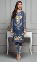This 2 PC Pure crinkle chiffon embroidered shirt, features deep tones along with Raw silk trousers & accessories.