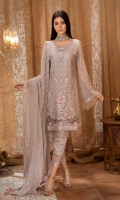 Embroidered front 0.87 yard chiffon  Embroidered back 0.87 yard chiffon  Embroidered front lace 1 yard net  Embroidered back lace 1 yard net  Embroidered sleeve 0.75 yard chiffon  Embroidered sleeve lace 1 yard net  Embroidered dupatta 2.5 yard chiffon  Trouser lace 1 yard net  Trouser 2.5 yard Raw silk