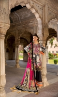 Digital Printed Embroidery Lawn Front.  Digital Printed Lawn Back.  Digital Printed Lawn Sleeves.  Embroidered Damen Patch.  Digital Printed Pure Chiffon Dupatta.  Dyed Cotton Lawn Trouser.