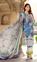 Digital Printed Embroidery Lawn Front.  Digital Printed Lawn Back.  Digital Printed Lawn Sleeves.  Embroidered Border.  Digital Printed Pure Chiffon Dupatta.  Dyed Cotton Lawn Trouser.