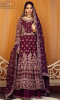 'Mumtaz' depicts the beauty of nights and the statement of timeless glamour. This beautiful bridal peshwas sets a new tone to the celebration with its grace and charm. Mumtaz is a deep plum resham work and hand crafted peshwas in organza with a matching raw silk kalidaar lehenga. It is delicately adorned with champagne and gold resham, kora, dabka, sitara, moti and colored sequence in the most understated yet beautiful manner. The outfit is paired with a heavily worked organza dupatta with handmade tassels to give a complete look for all brides on their big day.