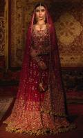 'Mah-e-Noor' is a quintessential blueprint for a majestic and ornate 'bride to be' garment. This deep crimson, twirl worthy lehanga choli is an excellent example of Zaaviay's craftsmanship. The mehrabs and floral motifs are enriched with zardozi hand-work and the lehanga is underlined by dull gold crushed tissue and tassels as finishing. The look is complete with elaborately handcrafted dupatta in zardozi and crushed tissue finishing on pallu. The dress is aggrandized by a banarsi pouch with hand embroidered brooch, complementing the dangling brooches on the neckline.