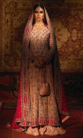 Gul-e-Rana ensemble epitomises the whimsical grace of a traditional bride. A long silk blush pink kalidar frock contrasted with a subtle shade of fuschia pink. The bodice is fully rendered with floral jaal handcrafted with champagne and silver kora, dabka and complemented with a beautiful shade of fuschia pink resham. A delicately adorned neckline with floral vines climbing up the front of a flared kalidar frock which makes a perfect fusion of modern with ethnic. The flared kalidar is accentuated with appliquéd fuschia pink mehrab all over the border of the heavy ghair, which makes up to this royal ensemble. It is complemented with a flared Dhaka style pajama with an overall delicate border with chan and bootis.  This elegantly flowing silhouette in soft blush pink with fuchsia accents, is paired with silk heavily adorned fuschia pink duppatta beautifully encrusted with delicate flowers and silver filigree. It's embellished with a heavy matha-pati border all intricately handcrafted with the technique of appliqué work.  The overall bridal look is a perfect go to companion with an embellished handcrafted pouch for some vintage vibes, which can be separately ordered from separates section.