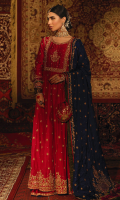 'Aab-e-resham' is a striking and regal ensemble, the glorious paneled kalidar flared frock is exalted with an eye-catching cherry pink raw silk with a heavily adorned embroidered flare on the hem for a timeless glamour worn over an intricately embellished bustier with over all chun. It is further decorated with vividly striking sleeves with an army green and magenta appliqué work with regal motifs.  It is harmonized with an alluring flared cherry pink Dhaka pajama and an intricate hand embroidered border.  The sprawling artwork inspired by the indigenous motifs reminiscent of the iconic Mughal figurative imagery of historical architecture and magnificent elephant figurine and palm trees on the contrasting navy blue silk dupatta with an army green and magenta handcrafted appliqué work.