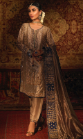'Reem' is a royal gold tissue silk dress, a fusion between a contemporary and traditional look, which is perfect for any festive occasion. It is enriched with crystals, zardozi, pearls, kora dabka and self colored resham which highlights the overall look of this design. It is beautifully finished with a delicate dori and a matching tassel on the neckline and royal blue raw silk finishing on the shirt and sleeves. The embroidery is done on the sleeves, borders of the shalwar and the dupatta. It is beautifully paired with gold tissue silk shalwar with intricate gold hand work on the borders and royal blue finishing, dupatta is of metallic tissue silk ,it has a bold elaborated border which comprises of intricate hand work that is underlined with chan and booti in gold tissue silk and this finishes the overall look of this ensemble. The pouch can be made on customization as per order.