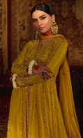 'Tabassum' is an elegant and a regal net dress is adorned in intricate gold and bronze handwork, which is enhanced and coordinated with pink resham that compliments the overall look of this piece. It is beautifully crafted with delicate details such as pearls, kora, dabka and ari hand-work which brings out delicate floral motifs on the bodice as well as on the border of each kali. The sleeves are styled with a bold floral motif with a linear handwork in the center, creating an aesthetically pleasing look. It is delicately finished with a dori and a pouch, tassels with pink/orange hues of banarsi finishing which gracefully uplifts the overall look of this dress. It is paired with straight raw silk lime green pants to complete the look of this piece. The lime green net dupatta features floral motif booti that highlights the look along with orange/pink banarsi finishing. The pouch can be made on customization as per order.