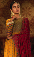 'Kaus-o-qaza' is a whimsy blend of floral and mehrab motifs in a stunning marigold yellow kalidar frock, attached with a beautiful sage green neckline and embroidered with the traditional crafts of kora,dabka and resham. The fabric used is raw silk featured with luscious shades of fuschia pink, deep green, purple, sage green and orange all encapsulated with hand crafted chattapati on sleeves, enhancing the overall look of the kalidar frock and finished with vivid green banarsi. The gorgeous kalidar is perfect for a bride on her Mehndi occasion.