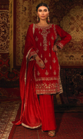 This alluring ruby red piece is a stunning traditional ensemble that is a perfect fusion between traditional and contemporary. The shirt is embellised with magnificent gold hand work comprising of kora, dabka and ari handwork that creates a regal look and highlights the craftsmanship of this design, which is perfect for a festive wear. It is also adorned with floral decorated motifs on the borders along with delicate motif on the shirt, further enriched with kingri and gold tissue finishing on the shirt and the dupatta. The sleeves are styled with chan and a stunning border of gold hand work. It is complimented with red bell bottoms that are well contrasted with the traditional shirt. The red net dupatta comprises of chan and a sophisticated gold tissue silk finishing with gota work. The pouch can be made on customisation as per order.