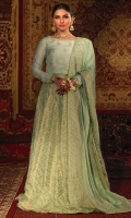 'Sohni' is a super stunning ice blue combination of lehenga choli is perfect for all day weddings as well as evening events. This outfit consists of a pure raw silk choli with exquisite handwork of floral motifs, fitted chan sleeves and a paneled floral banarsi silk lehenga. It is finished with metallic blue tissue silk, gota lace and tassel kiran. It is paired with a heavy embroidered medium silk dupatta with cutwork. A perfect embodiment of fine craftsmanship. A pouch can be customized on order.