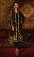 'Chandni Raat' is a contemporary raw silk front open jacket features stunning zardozi handwork in rich gold hues with accents of olive green resham and is finished with intricate pearls that creates a modern look. This alluring handwork is featured on the opening of the jacket, the borders are complimented with a modish arabesque jaal and finished with magnificent floral motifs on both sides. This jacket comes with an inner adorned with chan on it. The zardozi handwork is also delicately embellished on the sleeves that uplifts the look of this piece. This front jacket is finished with deep regal gold hue of banarsi finishing, creating a rich look of this design. This is paired with straight slit open black pants with loops finishing. The pouch can be made on customization as per order.