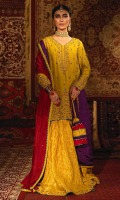 'Kasturi' channels a traditional charm and reveals in the beauty of this lime green short shirt with alluring zardoze work and resham in turquoise, purple and maroon. It is finished with a turquoise gota lace. This outfit is beautifully coordinated with a pure banarsi gharara with exquisite handwork. It comes with a reversible medium silk dupatta in purple and red with gota lace finishing and lime green paltawa with fabric tassels on the borders. Style this outfit with our chatta patti pouch with gota lace finishing and hand embellished dori tassel which can be separately ordered from separates section.