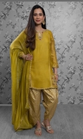 'Kiara' is a short pure khaddi net shirt in the color olive green. It has heavy embroidery of resham, kora and dabka styled with a keyhole neckline and straight embroidered sleeves for a shimmering look. It is complimented by an olive green khaddi net dupatta with gold lace finishing, along with raw silk screen printed tulip shalwar.
