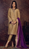'Zaina'' A stunning gold attire meticulously crafted with gold and silver dabka work on the neck line and sleeves, The shirt and sleeves are adorned with embellishments on mauve embroidery motifs with finishing details of purple hue. It is paired with an eye-catching screen-printed double color pure silk dupatta with gold details.